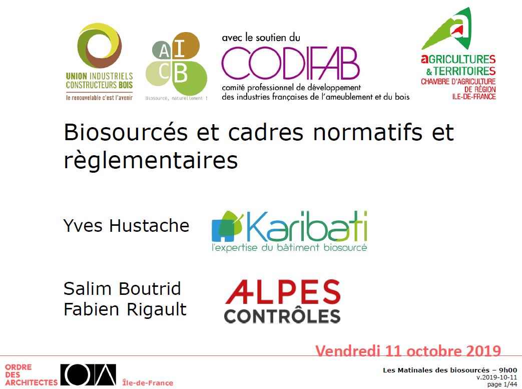 Présentation de l'AICB et d'Alpes Controle lors de la journée donneurs d'ordre à Paris