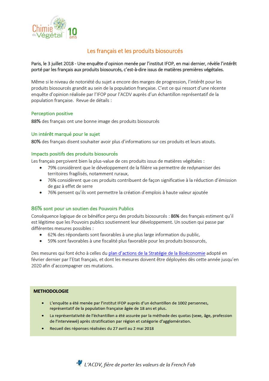 Synthèse de l'étude publique, association chimie du végétal, juillet 2018