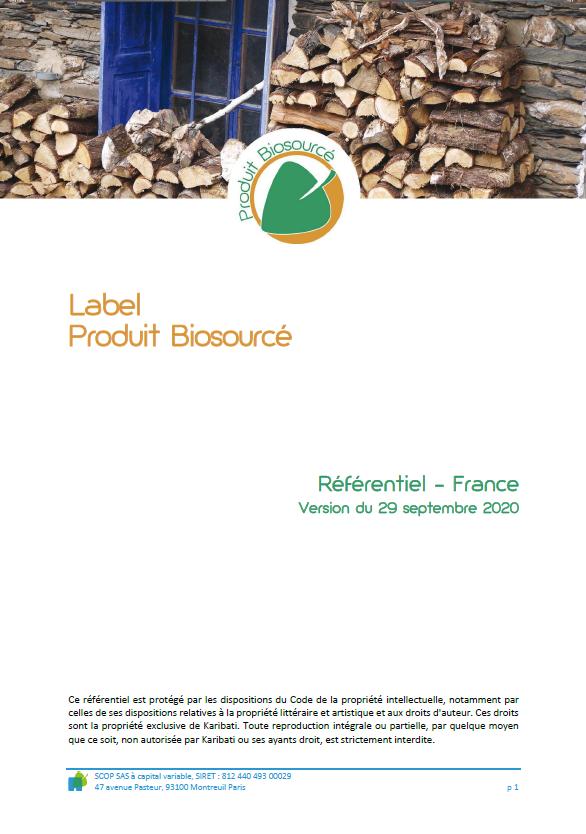 Référentiel du Label produit Biosourcé